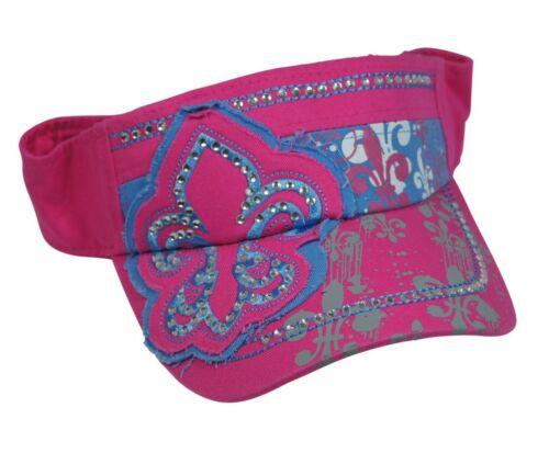 NWT Womens Girls LEAF Symbol Embroidered Bling Visor Neon Pink Custom Design