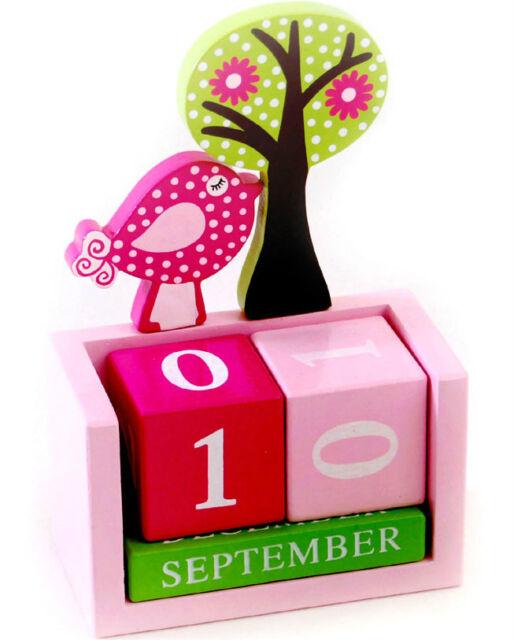 Brand new in box wooden bird calendar block FREE wrapping