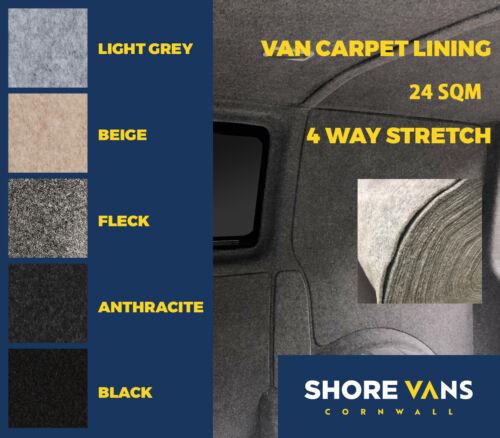 VW T4//T5//T6 Campervan Boat Carpet Lining Stretch 24 Sqm BLACK