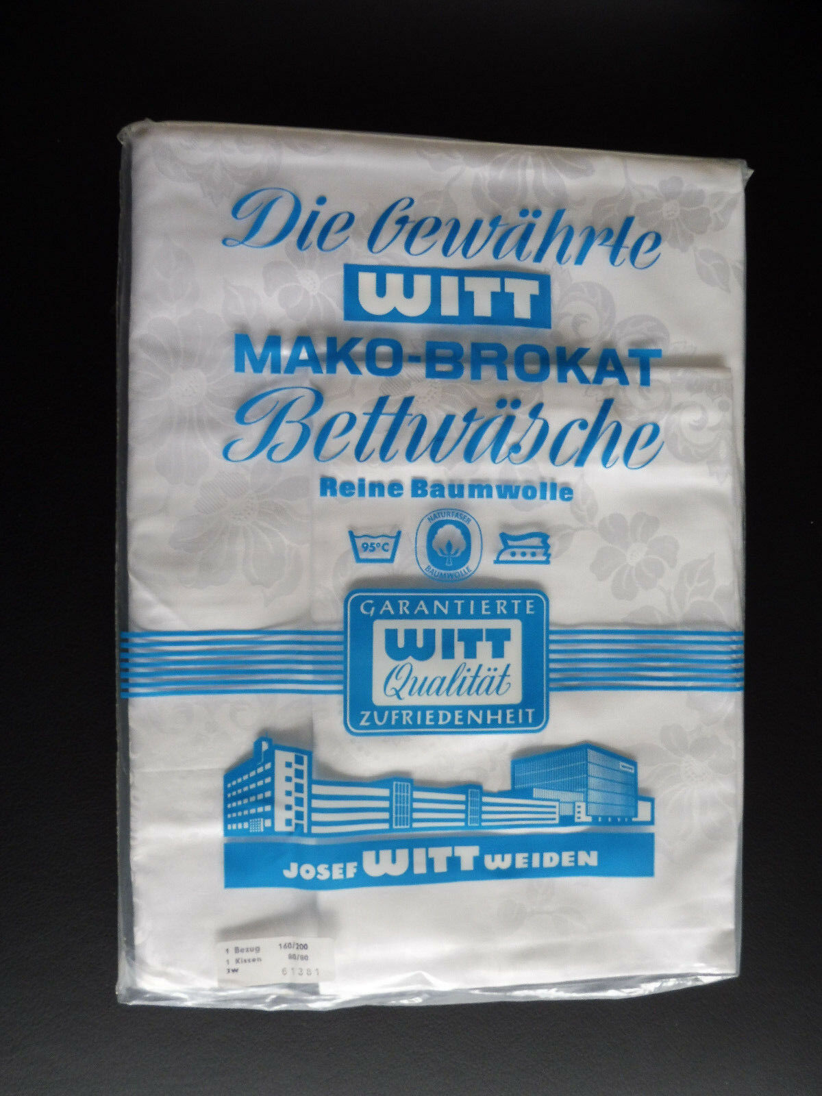 1 Mako-Brokat Bettbezug 160x200, 1 Kissen 80x80, Blaumenmuster, 70er Jahre