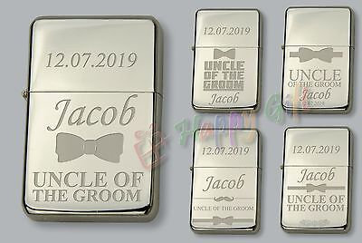 2019 Nuovo Stile Uncle Of The Groom Personalised Petrol Lighter Free Engraved Wedding Gift Beneficiale Per Lo Sperma