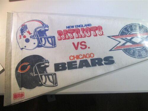 New England Patriots 1986 Pennant Super bowl XX Bears