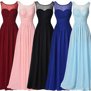 Wedding Long Chiffon Formal Bridesmaid Evening Prom Dress Party Homecoming Gown
