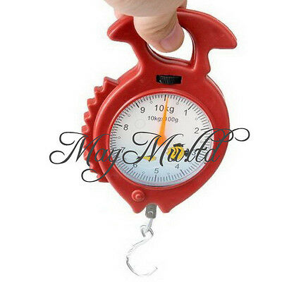 Fish Shape 10kg Weighing Handheld Numeral Pointer Spring Balance Hanging Scale S