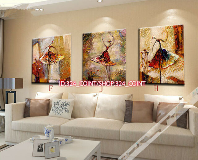 H887 3pcs Hand painted Oil Canvas Wall Art Home Decor abstract dance NO Frame
