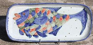 Gran Plato De Gres Esmalte - Con Diseño de Un Pez - L. 56 CM -2,630 KG