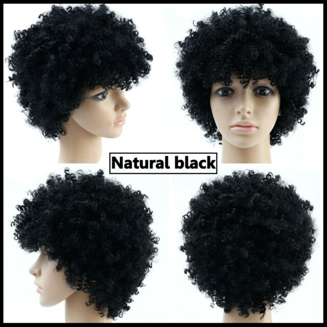 Natural Black Afro Wig Curly Heat Resistant Synthetic Fake Hair Non
