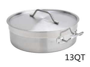 13QT-Stainless-Steel-Low-Pot-Stockpot-Saucepan-w-Lid-Cookware-KitchenCooking-Pot