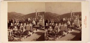 Francia Nice Cimitero Del Chateau Foto Alois Birra Stereo Vintage Albumina c1880