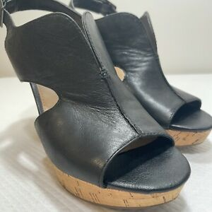 FRANCO SARTO black leather open toe wedge slingback pumps heels Size 7.5m