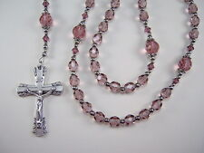 "Rosary Womens Catholic 18 1/4"" Light Amethyst Czech Glass Las Mujeres Rosario"