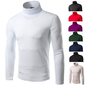 Mens Turtleneck Pullover Long Sleeve Jumper Tops Warm Casual Slim Fit T-Shirt