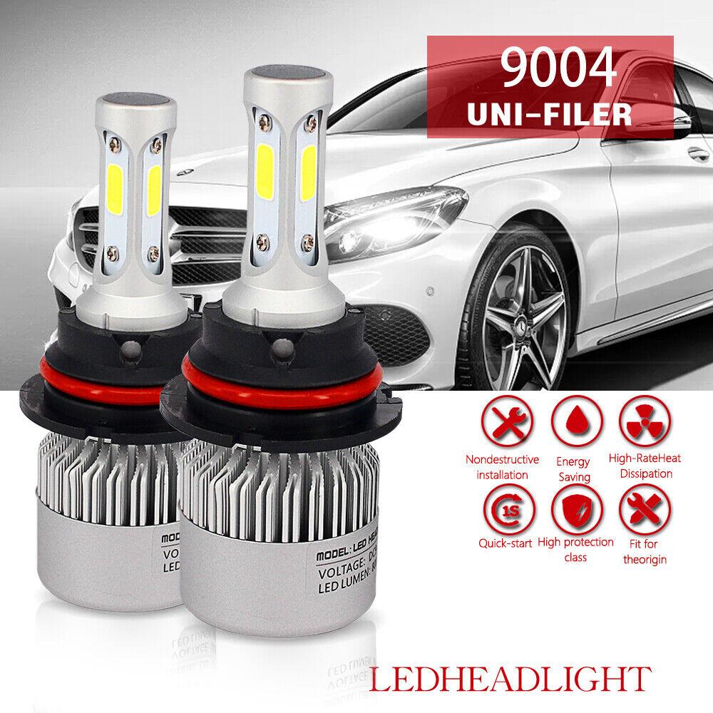 2x 9004 HB1 6500K Cool White 12000LM COB LED Headlight Bulbs Kit High Low Beam