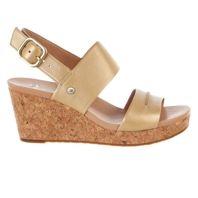 36328d4f33b UGG Elena II Metallic Soft Gold Women Platform Wedge Heel Sandals 1092246  Sz 7
