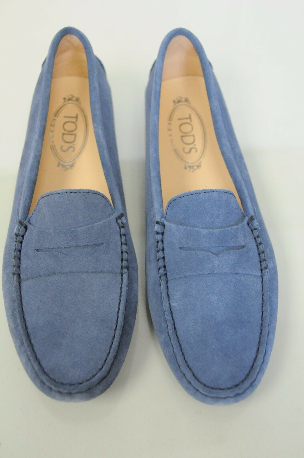 New TOD'S Flats Mocassins Penny Driving Moccasins shoes Navy bluee Suede 40