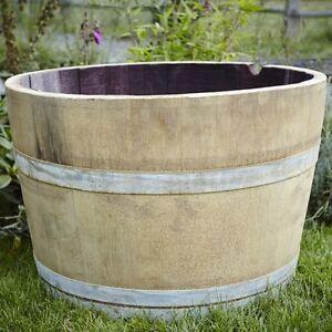 Oak Wine Half Barrel Planter French Wooden Wine Garden Feature