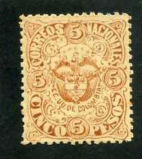 ESTADOS UNIDOS DE COLOMBIA,- color brown $5.00 pesos  1870s  Unused