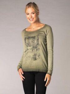 brand new 341af f14eb Details zu Pullover Damen Pulli von Yest Gr. 44, 48 grün kahki bedruckt,  Baumwolle