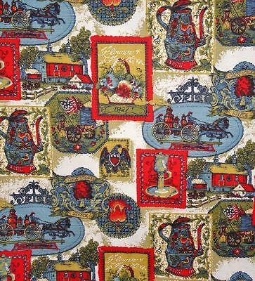 Antique Firetruck  Late 1800's motif Coffee Pot Flag Eagle Home Decor Fabric