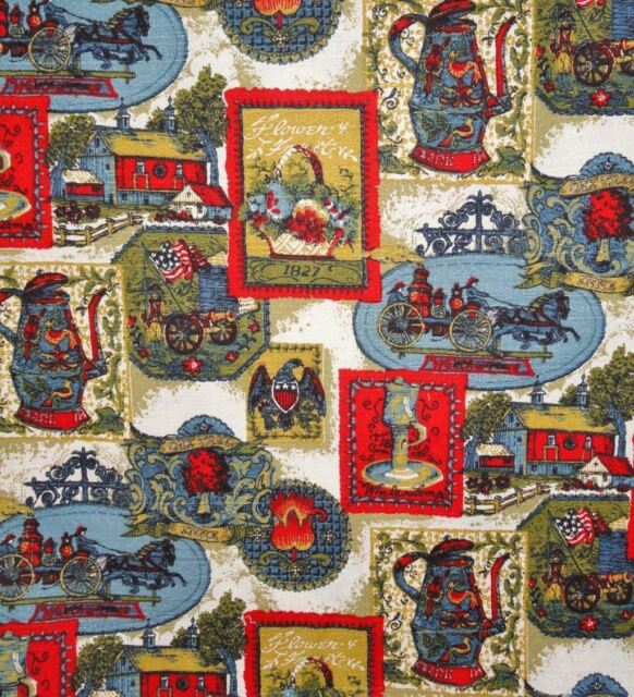 Antique Firetruck  Late 1800's motif Coffee Pot Flag Eagle Home Decor Fabric