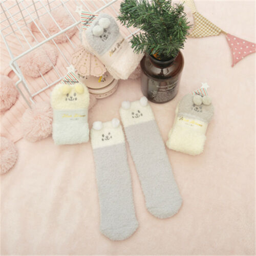 1pair Girl/'s Cozy Coral Fleece Fuzzy Candy Color Warm Sock Dog Printed