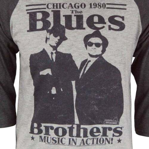 Mens Retro 80/'s The Blues Brothers In Action Raglan Heather Grey NEW Elwood Jake