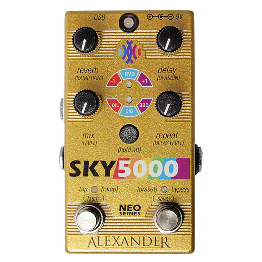Alexander Pedals Sky 5000 Reverb & Delay Guitar Effects Pedal, LTD Edition Gold