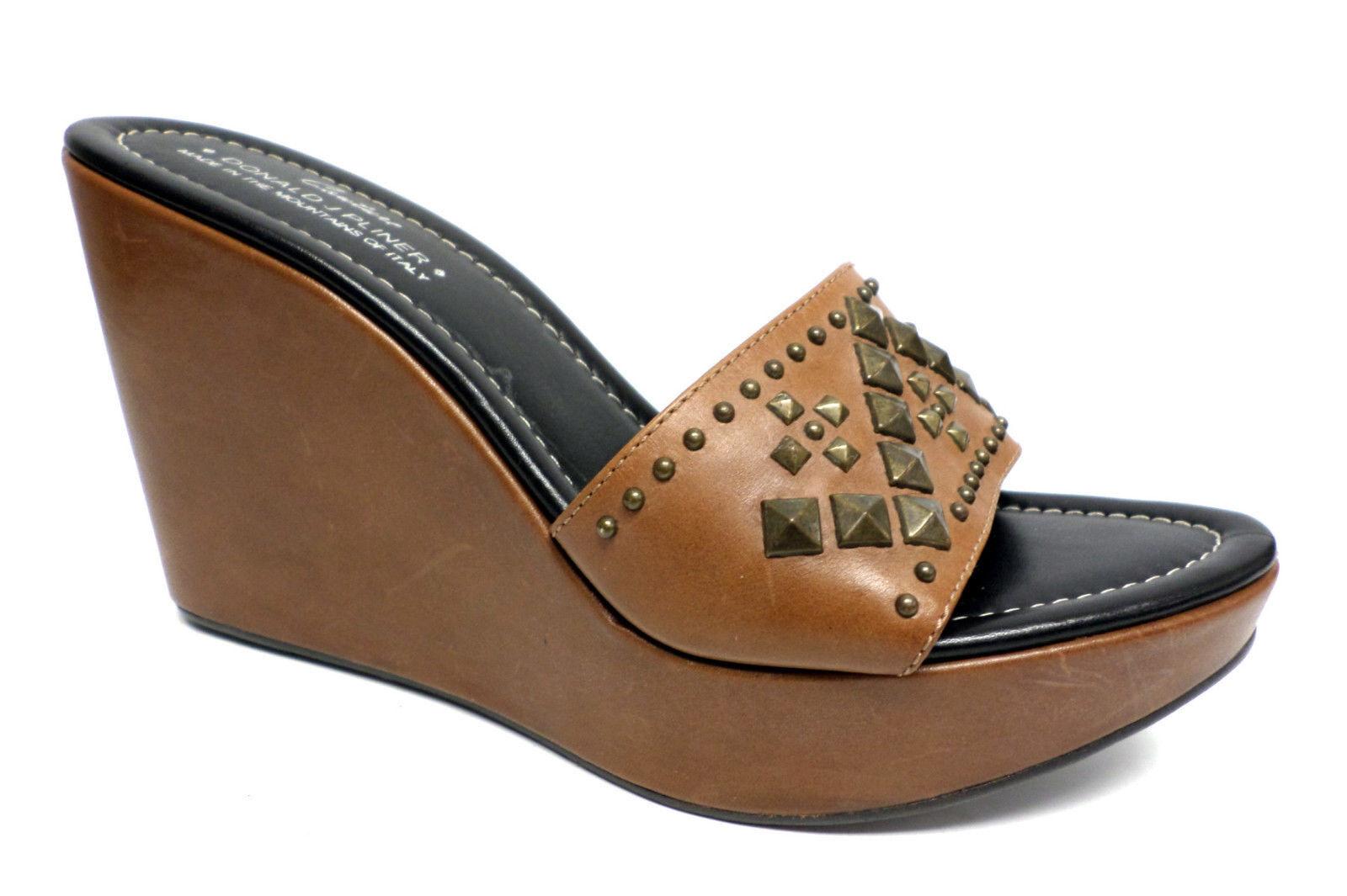 New DONALD PLINER Size 8 Brown STIMA Wedges Sandals Slide shoes
