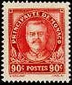 MONACO-STAMP-TIMBRE-N-117-034-PRINCE-LOUIS-II-90c-ROUGE-034-NEUF-xx-LUXE