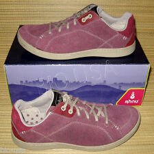 Womens Ahnu Pink Purple Leather Casual Sneakers Shoes 9.5