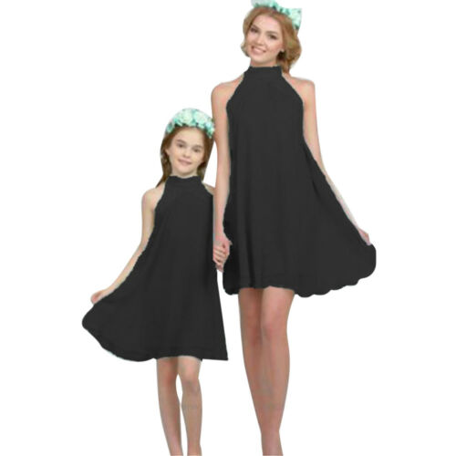 Christmas Mother Daughter Matching Red Chiffon Halter Beach Holiday Party Dress