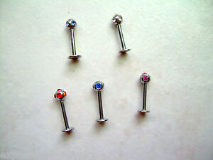 1-PIECE-16g-5-16-034-Multi-Gem-CZ-Labret-Lip-Ear-Tragus-Cartilage-Helix-3MM-Ball-2