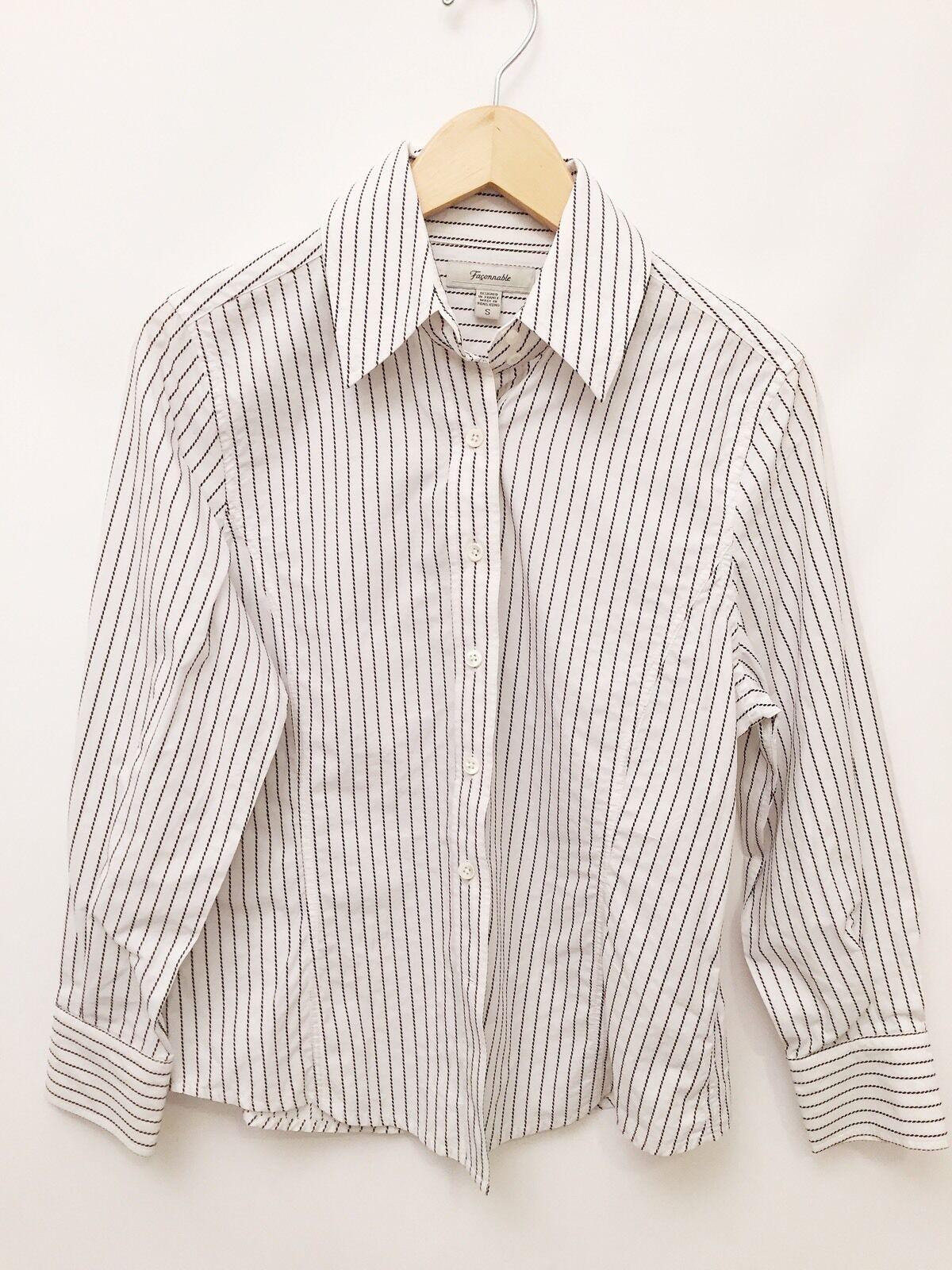Small Faconnable Ladies Blau & Weiß Stripe Button Down Ladies Cotton Blouse