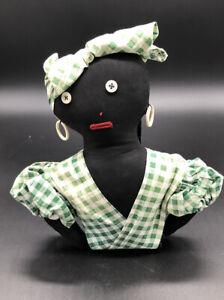 VINTAGE-Rag-Doll-Americana-Handmade-Cloth-Folk-Art-Half-Doll-9