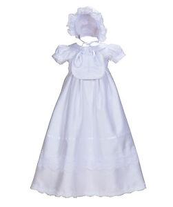 Cinda-Bebe-Filles-Blanc-Satin-Bapteme-Robe-Bavoir-et-Bonnet-0-3-6-9-12-Mois
