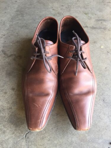 Miu Miu Leather Lace-up Pointed Shoes Sz 7 Brown