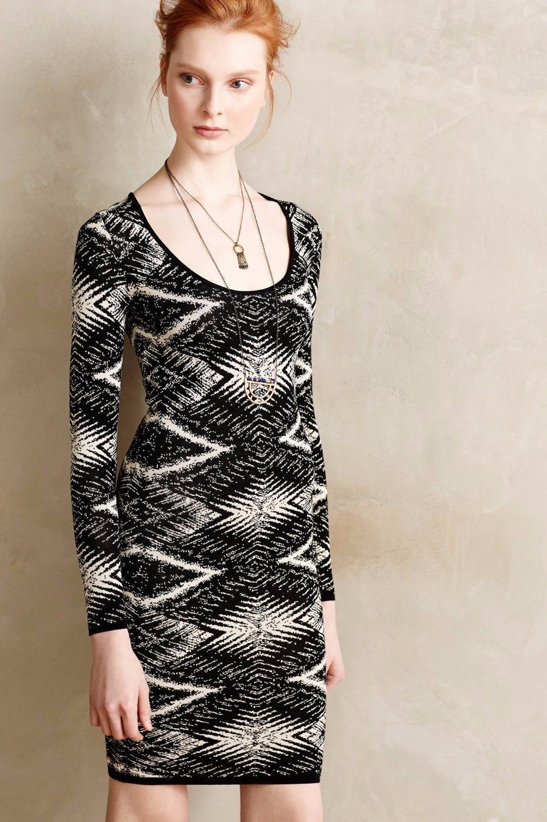 NWT TRACY REESE FELICITY PATTERNED KNIT BODYCON SWEATER DRESS M