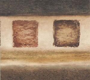 Wallpaper-Border-Designer-Modern-Block-Squares-Charcoal-Brown-Gold-Cream-amp-Taupe