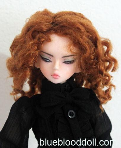 "1//4 bjd 7-8/"" doll head copper orange color curly wig MSD Luts iplehouse W-183M"