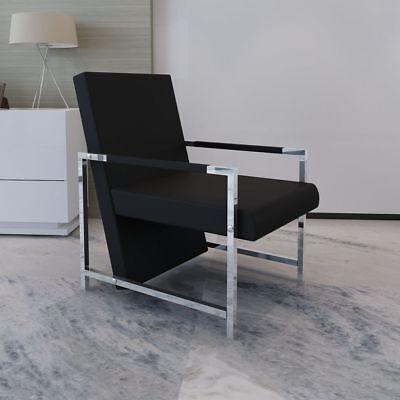 vidaXL Sillón Negro/Blanco Cúbico Con Patas Cromadas Alta Calidad Oficina
