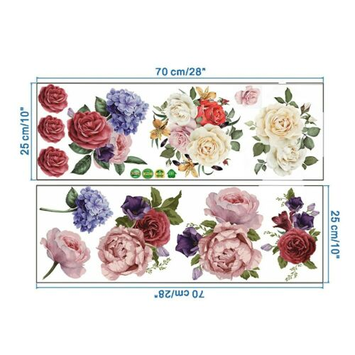 Large Peony Flower Wall Sticker Removable PVC Floral Mural Decal Room Decor  un