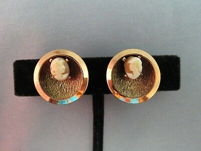 Vintage Copper Earrings Angel Skin Carved Shell Genuine Cameos Clip On 70s Cute