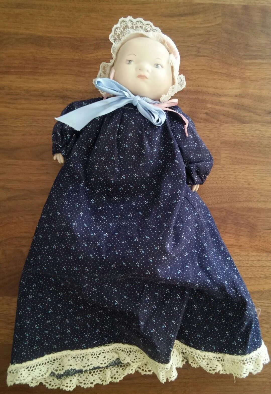 1923 Grace Putnam Bye-Lo Bisque Head Hands Approx 11 Inches blu rosabud Dress