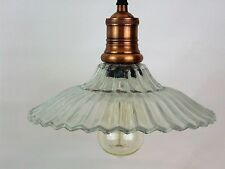 VINTAGE STYLE GLASS AND COPPER PENDANT LAMP BISTRO LIGHT
