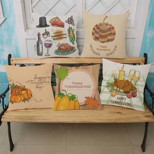 45*45cm Thanksgiving Embroidered Pillow Case Home Decor Sofa Throw Cushion Cover