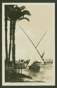 On-The-Nile-Cairo-Vintage-Real-Photographic-Postcard-By-Scortzis-amp-Co-Cairo