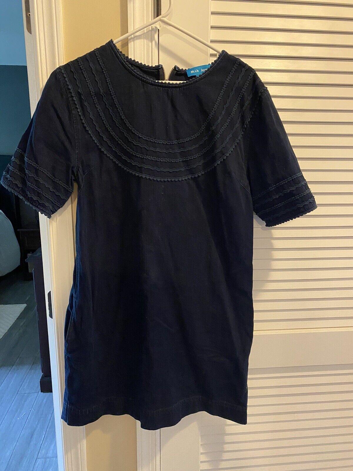 MIH Jeans Embroidered Denim Dress Dark Wash Medium - image 1