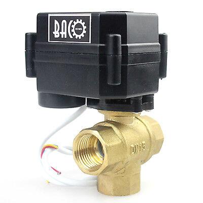 "1/2"" DN15 DC12V 3 Way T Port Brass Motorized Ball Valve, 2 & 5 Wire Control BSP"