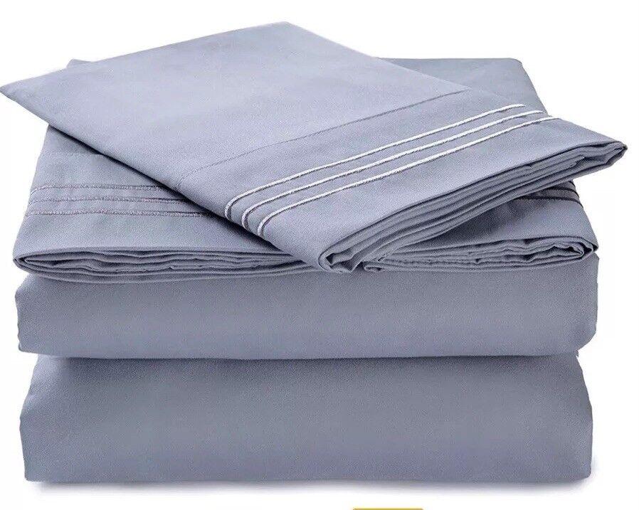 FinnKarelia Cal King 1800 Brushed Microfiber 4 PC Bed Sheet Set Light Grey. New