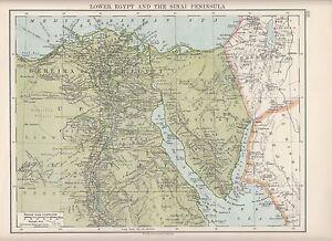 Details about 1923 MAP ~ LOWER EGYPT & THE SINAI PENINSULA ~ SUEZ NILE